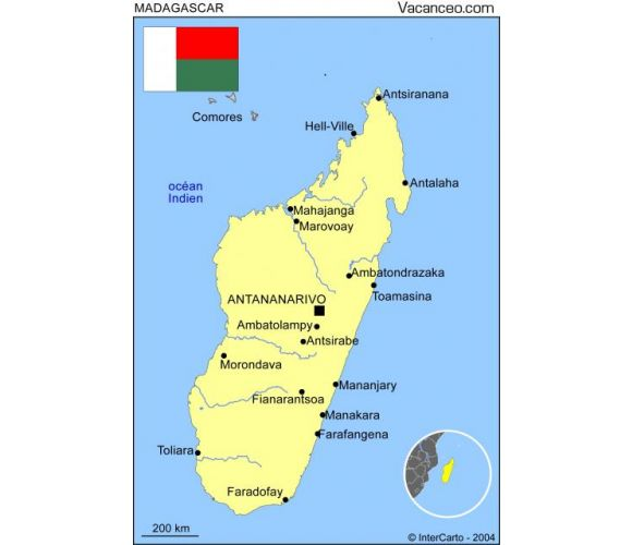Madagascar Carte Simple.Carte Madagascar Sur Vacanceo Com